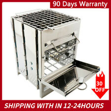 NEW Folding Stainless Steel Wood Burning Stove Outdoor Camping Picnic Portable
