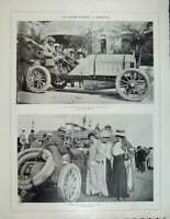 Original Old Antique Print French Motor Car People Photograph Automobile