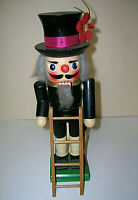 """Wooden Chimney Sweep Nutcracker w/ Ladder 10"""" T in Box Black Clothes Gray Hair"""