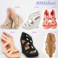 Women's Cute Wedge Heel  Platform Open Toe Sandal Shoes 6 Color  Size 5 - 10 NEW