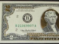 24 KARAT GOLD LEAF*2 DOLLAR Legal Tender* NEW GENUINE BANKNOTE $ 2 USA BILL