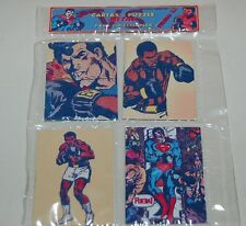 "SUPERMAN vs Muhammad Ali SET 4 METAL CARDS PUZZLE COLLECTIBLES SEALED SET ""B"""