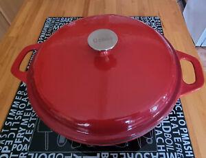 Denby Cast Iron Red Casserole 30cm shallow