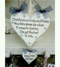 Personalised shabby wooden heart Auntie sign plaque gorgeous chic gift