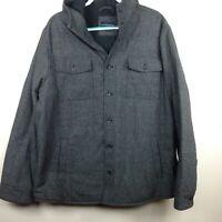 Banana Republic Men's Thermal Big Sur Jacket Sz 2XL Gray Button Hood