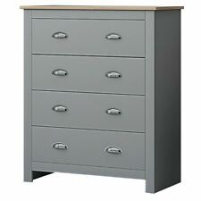 Traditional Bedroom Furniture - Soft Matte Grey 4 Drawer Chest of Drawers - Tall