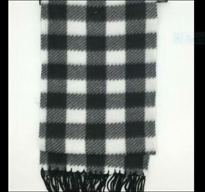 Mens Black & White Buffalo Check Fleece Scarf with Fringes