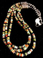 Handmade Native American Multi Color Green Turquoise Sterling Silver Necklace
