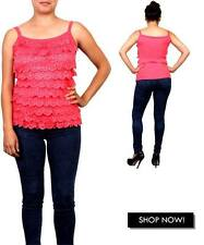 Lace coral ruffle rhinestone Tops Shirts one size Size 0-8 small Valentines day
