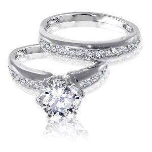 Brilliant Cut White Sapphire Engagement Wedding Genuine Sterling Silver Ring Set