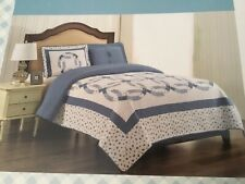 NEW Country Double Wedding Ring Patchwork KING Quilt & 2 Shams, Cracker Barrel