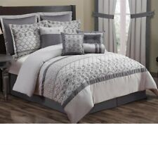 Kohl's 10 Pc Embroidered Bedding Set ~ Cal King 106 x 92 ~ Monica Gray Tones NEW