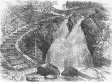 NORTHUMBS. Salmon-Stairs, antique print, 1862