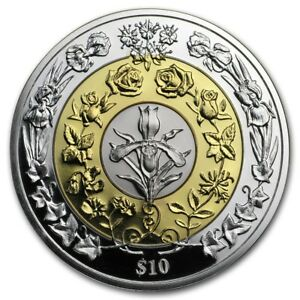 BRITISH VIRGIN ISL $10 2017 Tri-Colour Proof Silver Gold/Platinum Plated Flowers