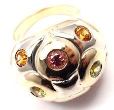 Authentic! Bvlgari Bulgari 18k Yellow White Gold Peridot Citrine Tourmaline Ring