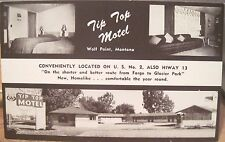 Montana Postcard TIP TOP MOTEL Wolf Point Mont US Hwy 2 Hiway 13 Glacier NP AAA