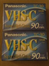 New Panasonic VHS-C Super High Grade 90min TC-30 Camcorder Blank Tapes-2 Pk