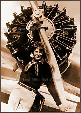 Photo: Amelia Earhart In Front Of Electra's Prop, Sepia View