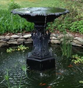 """Romantic Antique Late 19th c. Large 48"""" Cast Iron Egret Garden Fountain JW Fiske"""