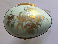 Vintage Limoges France Porcelain Hinged Egg Trinket Dressed Box Gold Gilt 4.25""