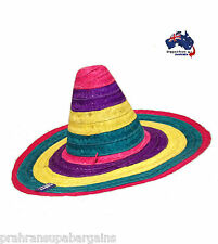 Mexican Sombrero Straw Hat Spanish Fiesta Party Costume Rainbow