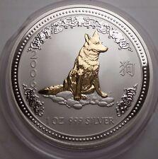 2006 Australian Lunar I Dog Hund 1 oz silver 1 dollar gild gilded