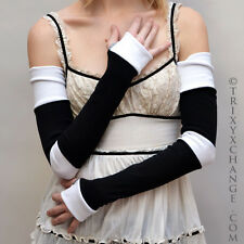 Long Black White Striped Cotton Arm Warmers Gloves Patchwork Hand Made DiY 1012