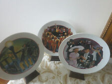 Lot of 3 Avon Images of Hollywood Collection Plates with Wood Musical Stands