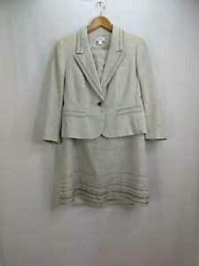 Ann Taylor Loft 2 Piece Skirt Suit Size 12 Gray Silver Shimmer