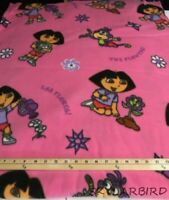 3.9Yds Dora the Explorer Flowers Las Flores on Fucshia Polar Fleece Fabric