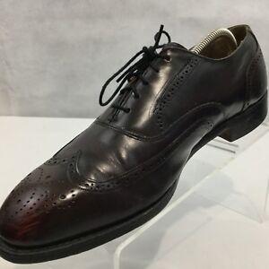 Johnston and Murphy Optima Wingtip Shoe Burgundy Full Brogue Sz 11 D USA Made