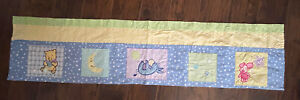 """Disney Winnie The Pooh Window Valance 14"""" X 60"""" Blue Green Yellow Quilted"""