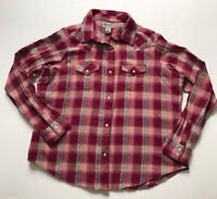 Wrangler Wrancher Sz 2XL Pink Blue Plaid Flannel Pearl Snap L/S Western Shirt