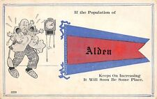 """Population Increase"" in Alden Iowa~Will Soon Be Some Place~Twins~1914 Pennant"