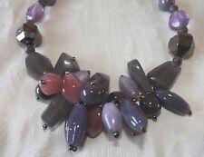 SUPERB CHUNKY NECKLACE - STATEMENT PIECE, IDEAL FOR CHRISTMAS  AMETHYST/GREY
