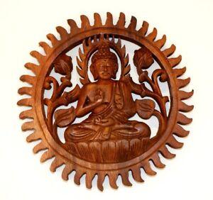 Handcarved 30 cm Wood Buddha Wall Hanging Plaque Reiki Healing Gift Idea