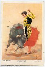 Carte postale brodée  .Costume et folklore . CHAMACO . Tauromachie . bullfightin