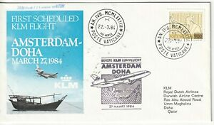 Vatican airmail cover  via first flight cover Amsterdam Doha to QATAR 1984