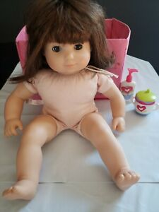 AG BITTY TWIN   Brunette Hair Brown Eyes changing table bin cup lotion lot