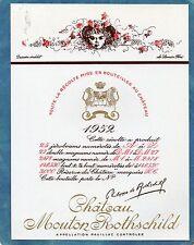 PAUILLAC 1EGCC ETIQUETTE CHATEAU MOUTON  ROTHSCHILD 1952 75 CL DECOREE§15/02/17§