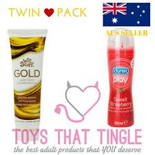 TWIN PACK DUREX PLAY STRAWBERRY & WET STUFF GOLD 100g LUBE SEX LUBRICANT