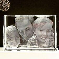 NEU 3D Glas Foto Würfel Personalisiertes Geschenk zu Weihnachten Familie