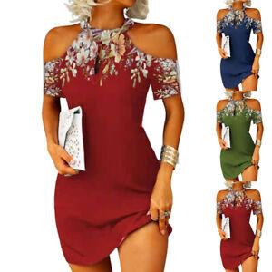 Womens Floral Cold Shoulder Sheath Dress Short Sleeve Halter Neck Mini Sundress