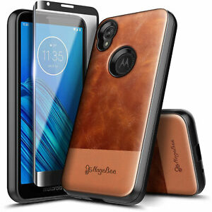 For Motorola Moto e6 Case Shockproof Leather Cover + Tempered Glass Protector