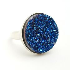 New 925 Sterling Silver 19mm Round Royal Blue Druzy Sandstone Band Ring Size 6