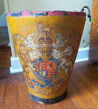 ANTIQUE FIRE BUCKET with BRITISH ROYAL COAT OF ARMS