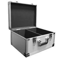 """SILVER DJ 7"""" RECORD BOX / FLIGHT CASE HOLD 200 BLACK VINYL - FULLY LINED + LOCKS"""