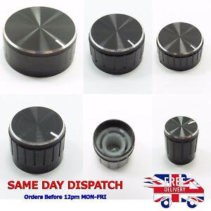 Black Aluminum Potentiometer Knurled Knob Caps Volume Control For 6mm Shaft Hole