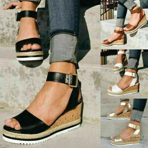 UK Womens Ankle Strap Platform Wedges Sandals Ladies Summer Flatform Shoes Size
