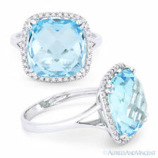 9.49ct Cushion Cut Blue Topaz Diamond Right-Hand Cocktail Ring in 14k White Gold